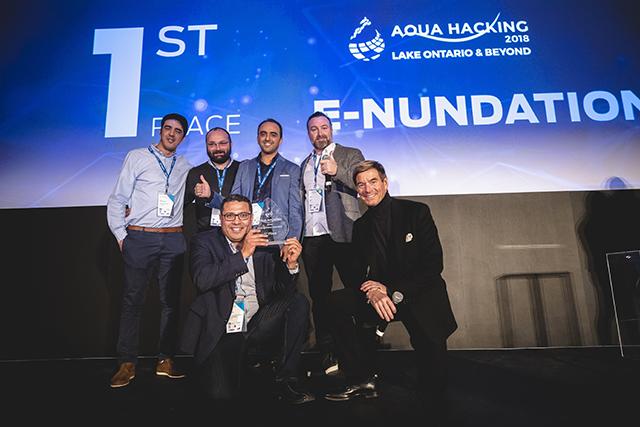 Photo © Aquahacking. De gauche à droite : Khalid Oubennaceur, Sébastien Raymond, Hachem Agili, Paul Maco, Karem Chokmani et Philippe de Gaspé Beaubien.
