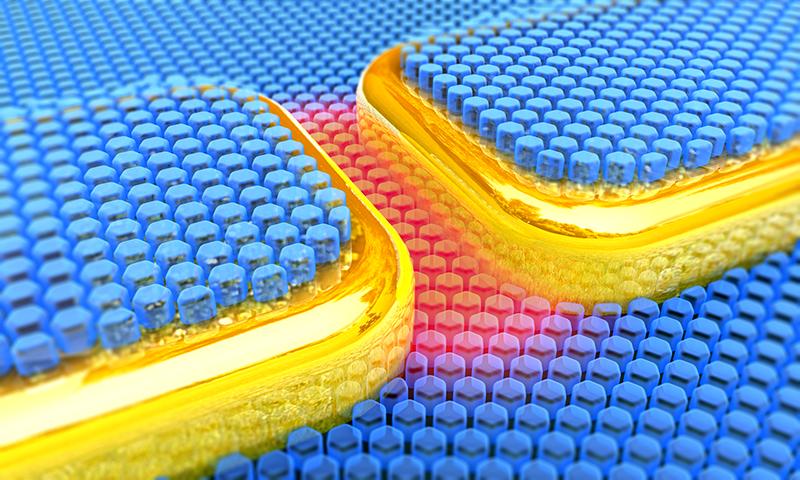 Illustration : nanocavité plasmonique térahertz recouverte de nanocristaux.