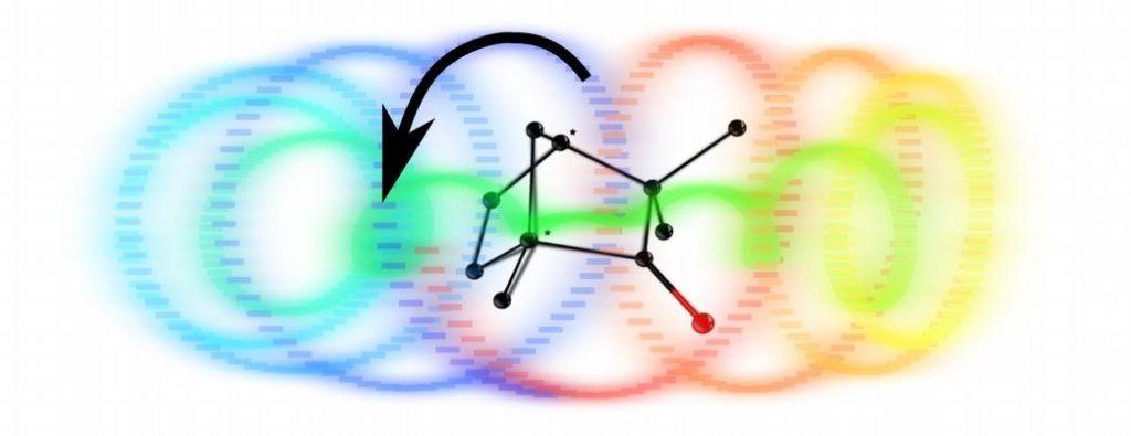 Figure: Suite à une excitation par une impulsion laser ultra-brève polarisée circulairement, les électrons excités de la molécule décrivent un mouvement de spirale, dont le sens dépend de la chiralité, droite ou gauche, de la molécule.