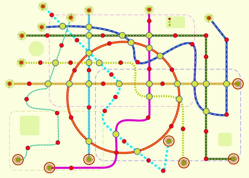 Carte d'un réseau de métro fictif