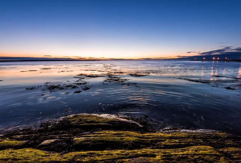 Twilight, dusk, dark night in Rimouski, Quebec, Saint Lawrence river, Gaspesie, Canada with rocks, boulders, rocky beach, turquoise water, sun reflection, seaweed, blue sky, city lights, lamps