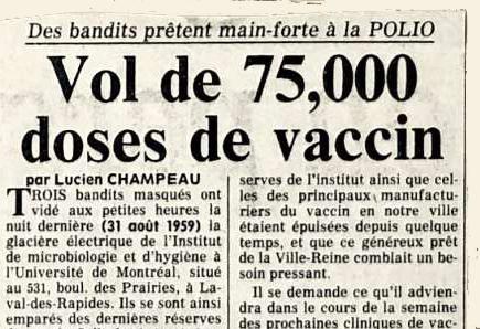 Clin d'œil historique : l'affaire du vol des vaccins