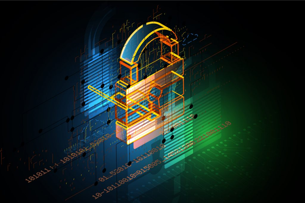 Artistic representation of a lock, symbolizing cybersecurity.