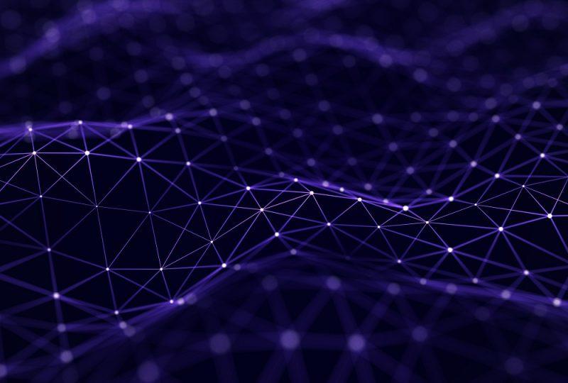 Technology dots background. Big data visualization. Futuristic dynamic wave. 3D rendering.